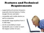 features and technical requirements