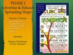 phase 1 advertise educate spreading hope