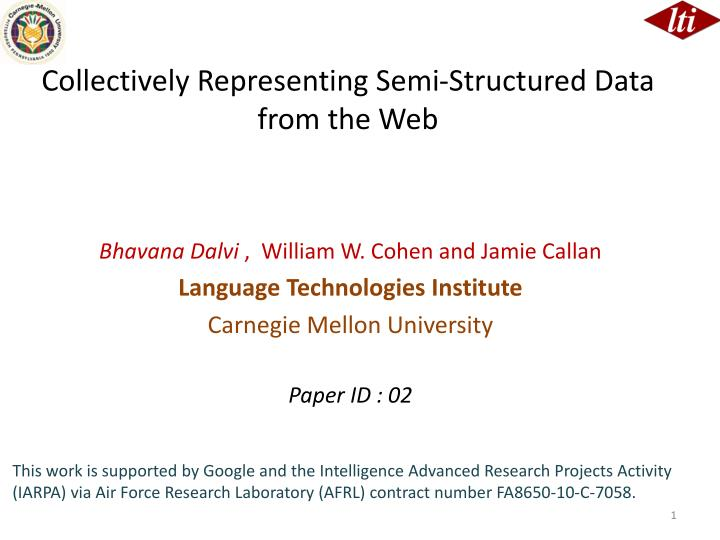 collectively representing semi structured data from the web n.