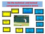 list the technical and tactical components required in tennis