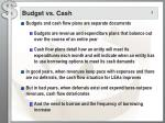 budget vs cash