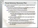 fiscal solvency recovery plan