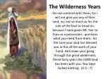 the wilderness years1