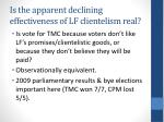 is the apparent declining effectiveness of lf clientelism real