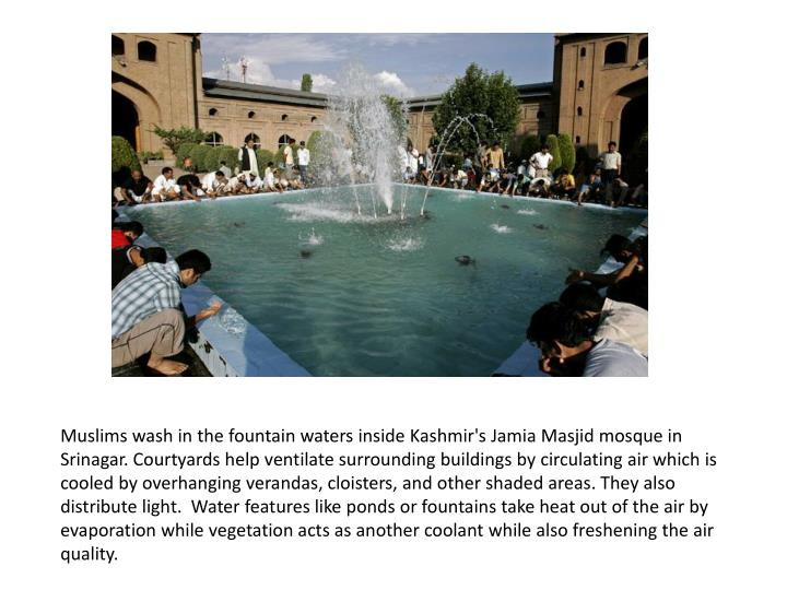 Muslims wash in the fountain waters inside Kashmir's
