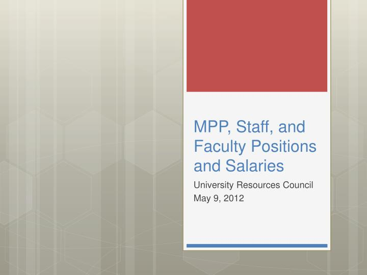 mpp staff and faculty positions and salaries n.