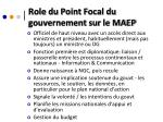 role du point focal du gouvernement sur le maep