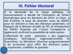 iii fichier lectoral