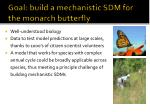 g oal build a mechanistic sdm for the monarch butterfly