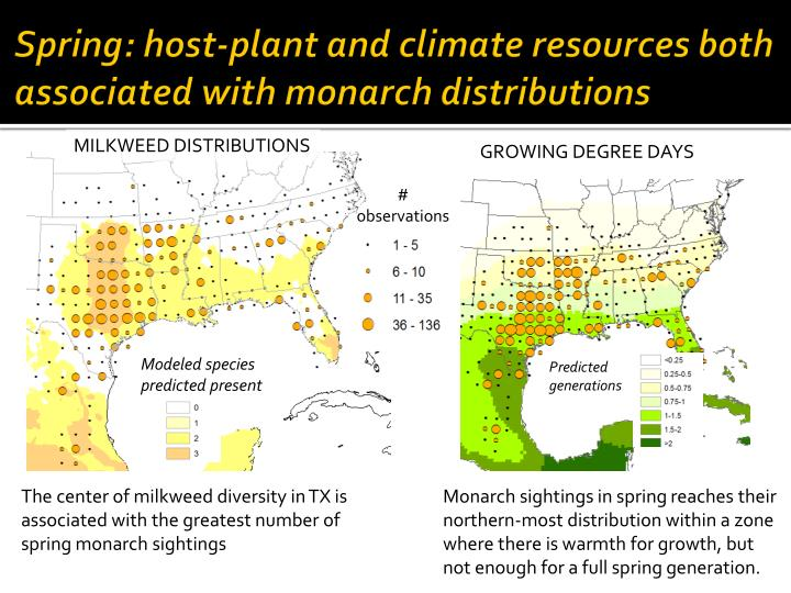 Spring: host-plant and climate resources both associated with monarch distributions