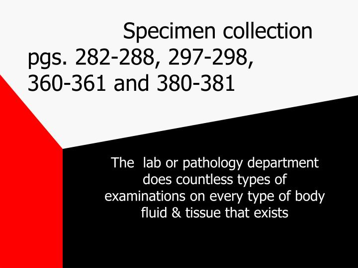 specimen collection pgs 282 288 297 298 360 361 and 380 381 n.