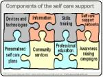 components of the self care support