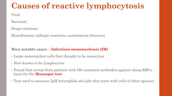 Causes of reactive lymphocytosis