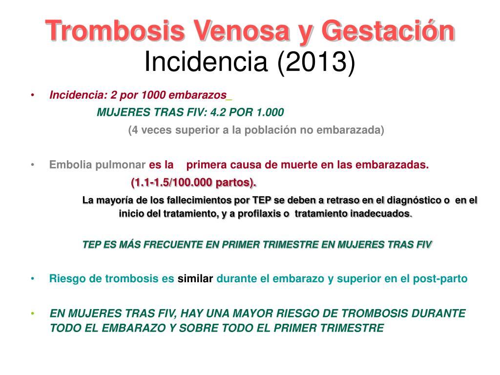 Venoso en el rcog tromboembolismo ppt embarazo