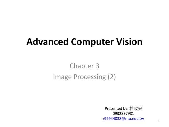 advanced computer vision n.