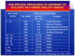 age specific prevalence of antibody to hcv anti hcv among healthy saudis