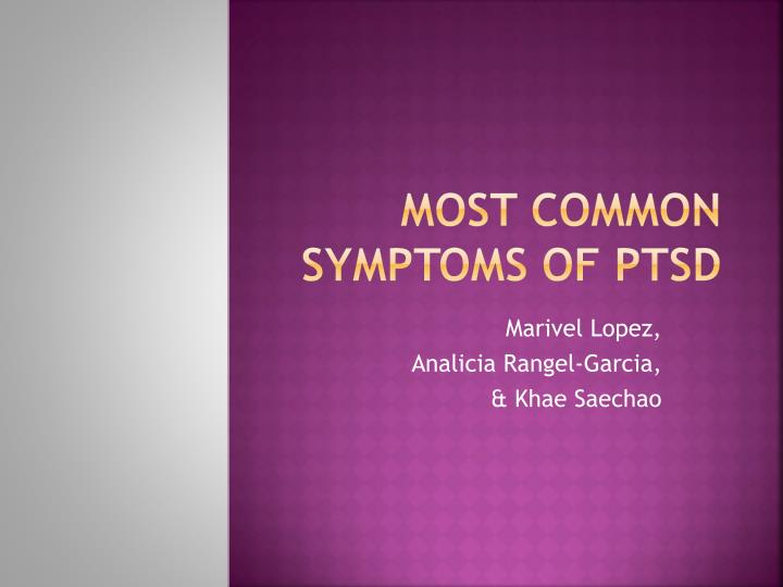 most common symptoms of ptsd n.