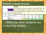 section 3 small groups
