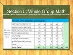 section 5 whole group math