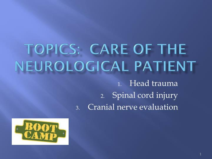 topics care of the neurological patient n.