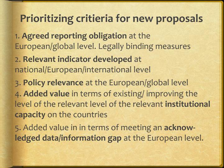 Prioritizing critieria for new proposals