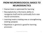 from neurobiological basics to neurodidactics