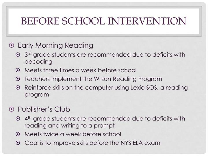 Before school intervention