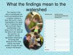 what the findings mean to the watershed