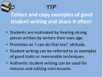 tip collect and copy examples of good student writing and share it often