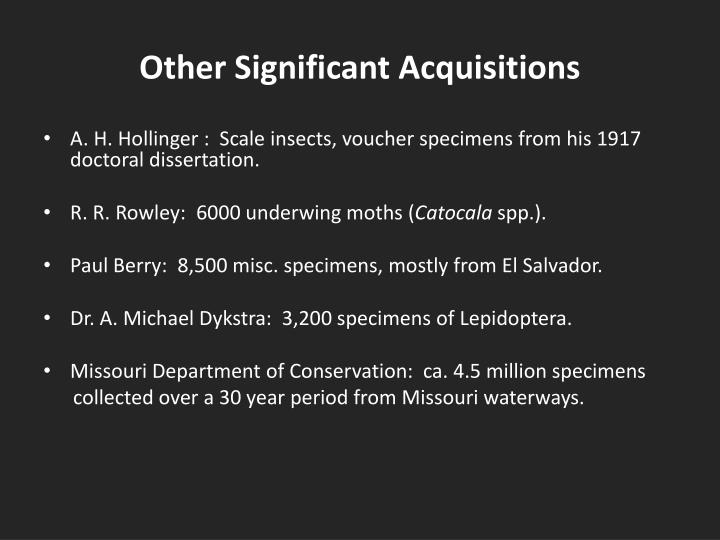 Other significant acquisitions