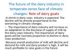 the future of the dairy industry in temperate zones face of climatic changes role of dairy goats