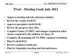 tgaf meeting goals july 2012