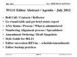 wg11 editor abstract agenda july 2012