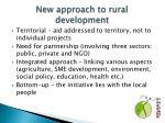 new approach to rural development