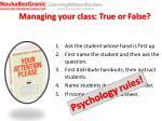 managing your class true or false