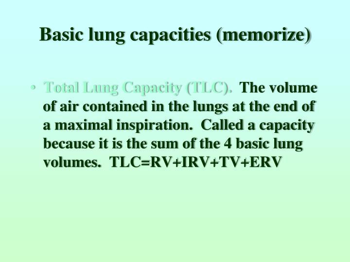 Basic lung capacities (memorize)