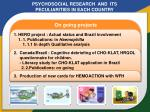 psychosocial research and its peculiarities in each country