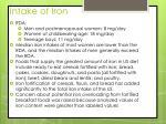 intake of iron