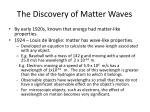 the discovery of matter waves