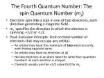 the fourth quantum number the spin quantum number m s