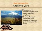magma composition andesitic lava