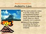 magma composition andesitic lava1