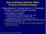 early oral enteral nutrition within 24 hours of intestinal surgery1
