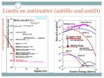 limits on antimatter antihe and antid