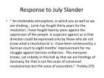response to july slander