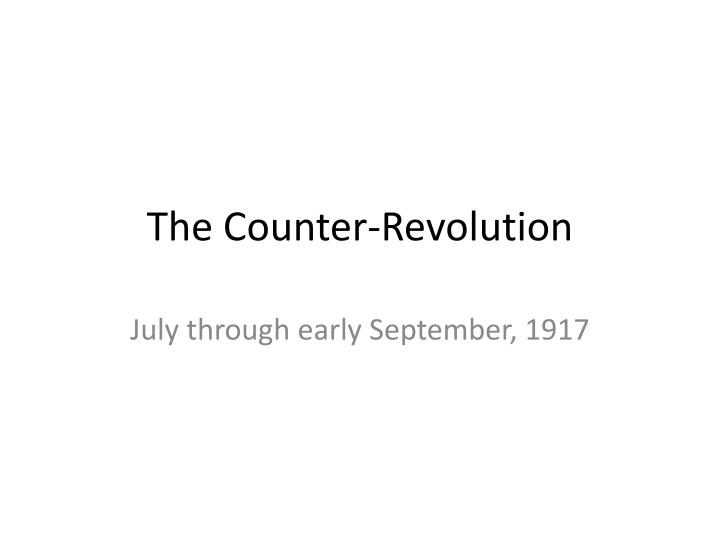 the counter revolution n.