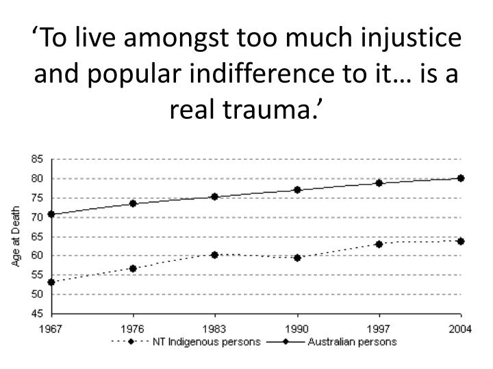 'To live amongst too much injustice and popular indifference to it… is a real trauma.'