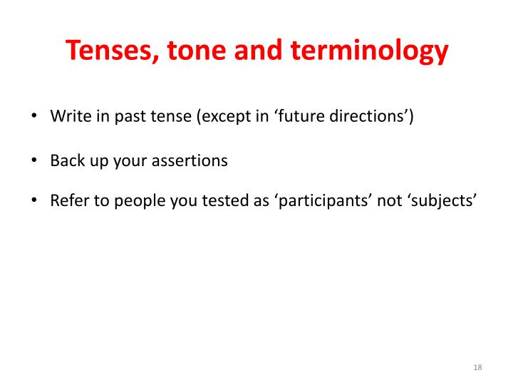 Tenses, tone and terminology