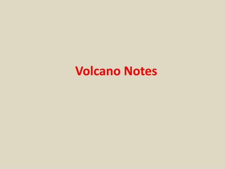 volcano notes n.
