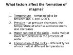what factors affect the formation of magma